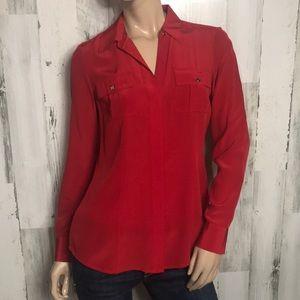 Beautiful red silk blouse button up dress shirt